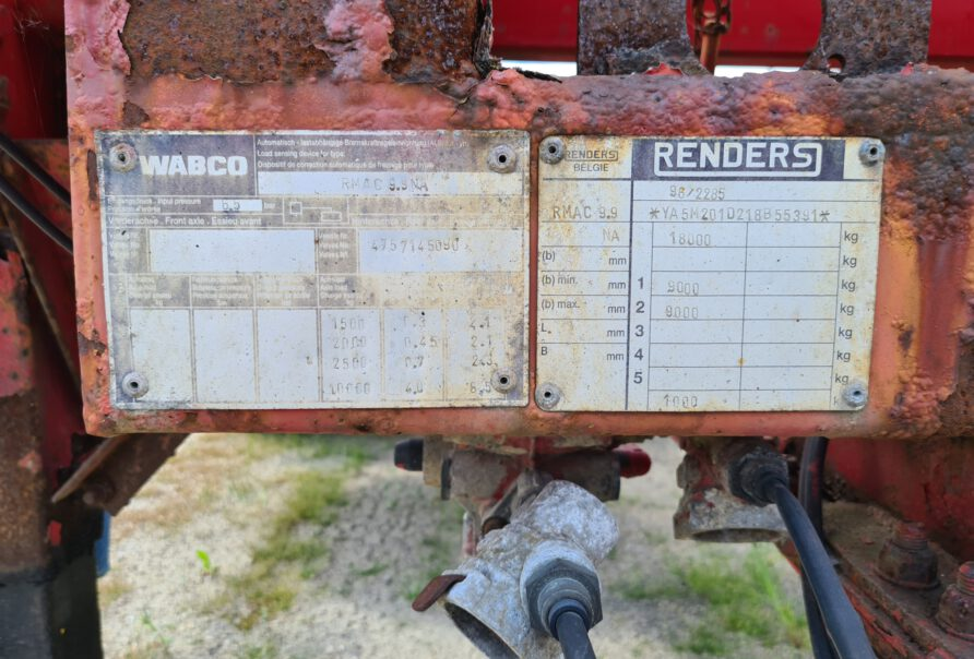 RENDERS WIPKAR 18T - 2 ASSEN BPW - DUBBELE MONTAGE - LUCHTVERING